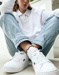 Белые кроссовки с подошвой с углублением Tommy Jeans-Белый