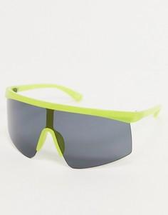 Солнцезащитные очки без оправы в стиле oversized с неоновыми вставками ASOS DESIGN-Черный
