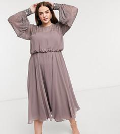 Платье миди с отделкой на кокетке ASOS DESIGN Curve-Фиолетовый