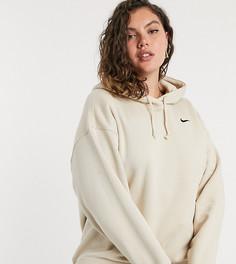 Худи бежевого цвета в стиле oversized с маленьким логотипом-галочкой Nike Plus-Бежевый
