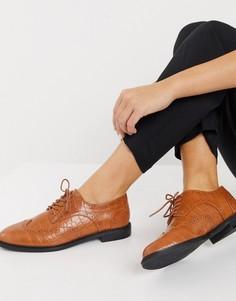 Коричневые туфли со шнуровкой на плоской подошве с отделкой под крокодиловую кожу ASOS DESIGN More-Светло-коричневый
