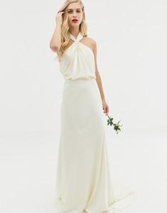 Кружевное свадебное платье макси с американской проймой ASOS EDITION Valentina-Кремовый