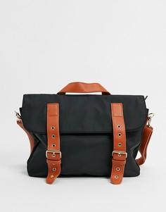 Черная нейлоновая сумка-портфель с контрастным ремешком My Accessories London-Черный