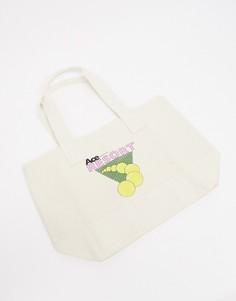 """Большая бежевая сумка-тоут для тяжелых вещей с принтом """"Resort"""" ASOS DESIGN-Бежевый"""