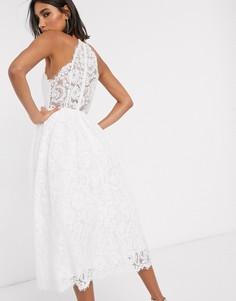 Кружевное свадебное платье миди с американской проймой ASOS EDITION Valerie-Белый