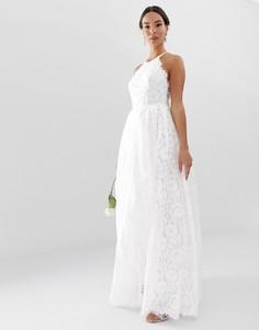 Кружевное свадебное платье макси с американской проймой ASOS EDITION Amalie-Белый