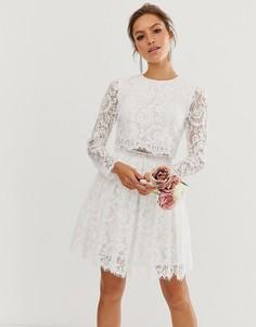 Кружевное свадебное платье кроп-топ мини ASOS EDITION Gigi-Белый