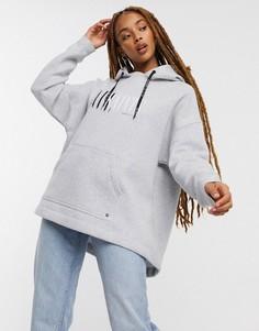 Серый меланжевый oversize-худи с логотипом AllSaints Etienne