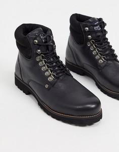 Черные кожаные походные ботинки на шнуровке с уплотненным мягким верхом Original Penguin-Черный