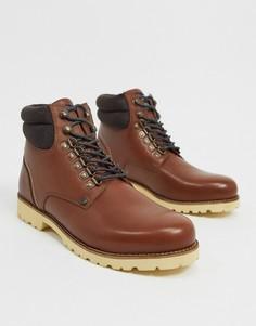 Коричневые кожаные походные ботинки на шнуровке с мягким кантом Original Penguin-Светло-коричневый