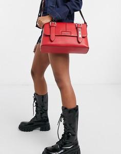 Красная сумка-портфель с ремешками и пряжками Love Moschino-Красный