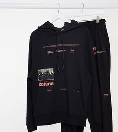 Худи oversized черного цвета с принтом COLLUSION Unisex-Черный