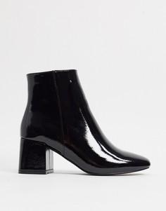 Черные лакированные ботинки на блочном каблуке New Look-Черный