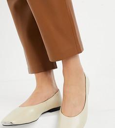 Кожаные туфли цвета слоновой кости на плоской подошве с металлическим носком ASRA Exclusive Fleur-Кремовый