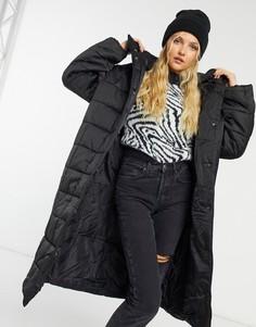 Атласное длинное стеганое пальто черного цвета ASOS DESIGN-Черный