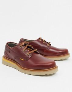 Низкие кожаные туфли винного цвета на шнуровке Caterpillar Jackson-Красный