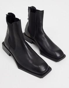 Черные кожаные ботинки челси с угловатой подошвой ASOS DESIGN-Черный