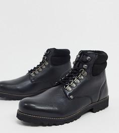 Черные кожаные походные ботинки на шнуровке с утолщенным верхом для широкой стопы Original Penguin-Белый