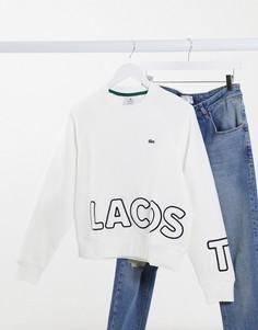 Белый свитшот с окантовкой по бокам Lacoste-Черный