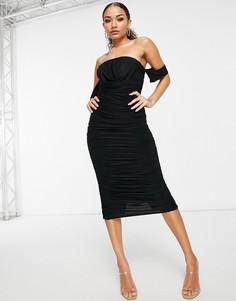 Черное облегающее платье с драпировкой Femme Luxe-Черный