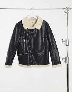 Черная куртка-авиатор с подкладкой из искусственного меха Sixth June-Черный