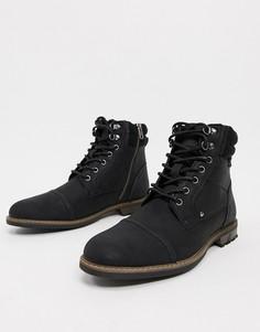 Черные ботинки на шнуровке River Island-Черный