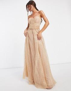 Платье-бандо макси из сетки с пайетками в цвете шампанского Goddiva-Золотой