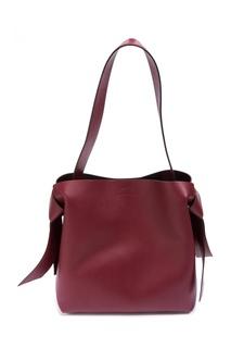 Бордовая кожаная сумка Musubi Midi Acne Studios