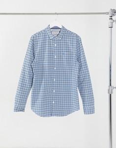 Рубашка в разноцветную клетку с длинными рукавами Original Penguin-Синий