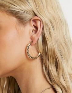 Золотистые серьги-кольца с кованным эффектом Accessorize-Золотистый