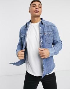 Классическая джинсовая рубашка с эффектом кислотной стирки в ковбойском стиле Levis Barstow-Синий Levis®