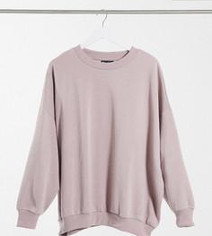 Уютный свитшот-кокон в стиле oversized серо-коричневого цвета ASOS DESIGN Curve-Розовый