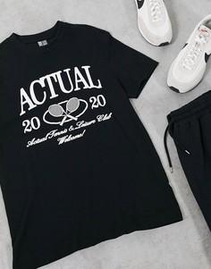 Черная футболка с принтом логотипа спереди ASOS Actual-Черный