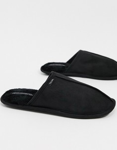 """Черные тапочки без задника с фирменным логотипом """"FCUK"""" French Connection-Черный"""