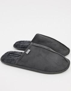 """Серые тапочки без задника с фирменным логотипом """"FCUK"""" French Connection-Серый"""