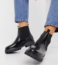 Черные кожаные ботинки челси на плоской подошве со вставками из кожи под крокодила ASRA Exclusive Bibi-Черный