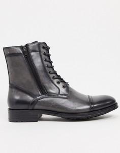 Серые кожаные ботинки на шнуровке Kenneth Cole-Серый