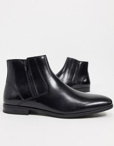 Кожаные ботинки челси коньячного цвета на молнии Kenneth Cole-Светло-коричневый