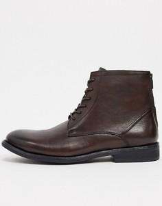 Коричневые кожаные ботинки на шнуровке Kenneth Cole-Коричневый