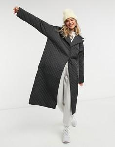 Черное стеганое пальто ASOS DESIGN-Зеленый