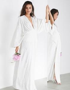 Свадебное платье в стиле кимоно с вышивкой ASOS EDITION-Белый