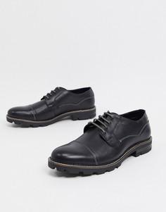 Черные кожаные ботинки на шнуровке с рифленой подошвой Ben Sherman-Черный