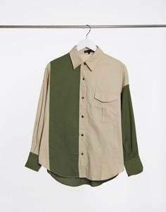 Зеленая рубашка с контрастной вставкой Love & Other Things-Зеленый