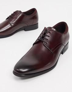Бордовые кожаные туфли на шнуровке Kenneth Cole levin-Черный