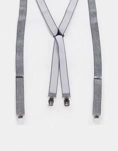 Строгие подтяжки с серой текстурой ASOS DESIGN-Черный