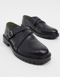 Кожаные ботинки-дерби на массивной подошве с ремешком и пряжкой Bolongaro Trevor-Черный