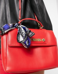 Красная сумка-портфель с шарфом Love Moschino-Красный