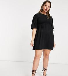Черное платье-футболка в стиле oversized с прозрачной вставкой Fashionkilla Plus-Черный