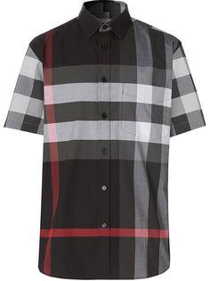 Burberry клетчатая рубашка с короткими рукавами