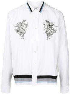 Ports V рубашка с вышивкой и контрастными полосками